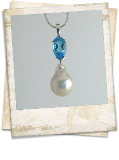 Blue topaz and baroque pearl pendant - click for details