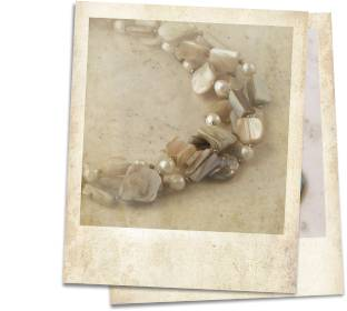 Shell, mother of pearl and pearl necklace - click for details