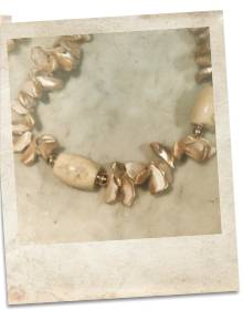 Mother of pearl and coral necklace - click for details