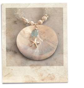 Mother of pearl, aquamarine and topaz necklace - click for details