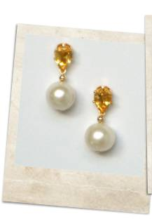 Citrine and pearl earrings - click for details