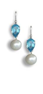 Blue topaz and pearl earrings - click for details