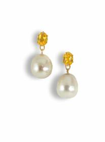 Beryl and freshwater pearl earrings - click for details