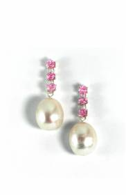 Pink tourmaline and freshwater pearl earrings - click for details