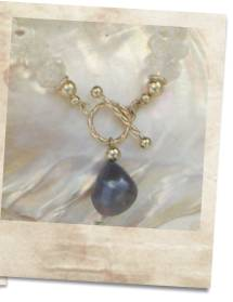 Quartz necklace with large baroque black pearl pendant - click for details