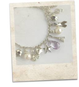 Pearl, amethyst and sterling silver bracelet - click for details