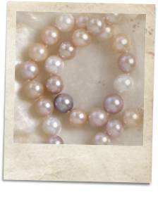 Necklace of natural multi-coloured freshwater pearls - click for details