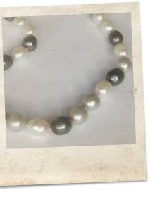 Black, grey and white large freshwater pearl necklace - click for details