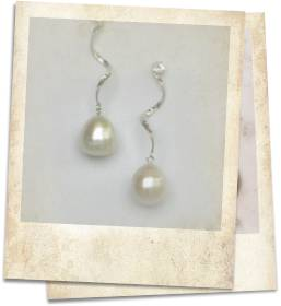 Large freshwater pearl and white topaz earrings - click for details