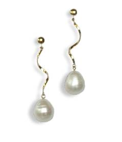 Large freshwater pearl and 14kt rolled gold earrings - click for details