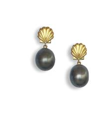 Large black pearl and rolled gold earrings - click for details