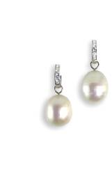 Pearl and white gold earrings with cubic zirconia - click for details
