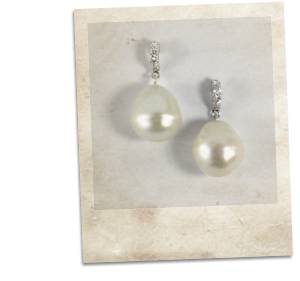 Pearl and sterling silver earrings with cubic zirconia - click for details