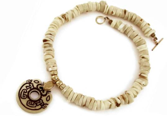 Carved bone and white coral necklace - click for details