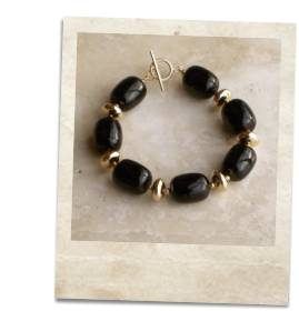 Black onyx and gold bracelet - click for details
