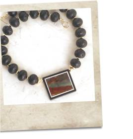 Jasper and lava stone necklace - click for details