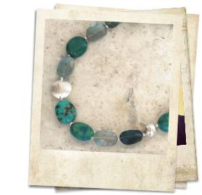Turquoise, fluorite and sterling silver necklace - click for details