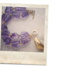 Amethyst and 22kt gold vermeil bracelet - click for details