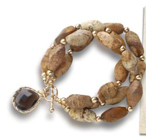 Jasper and smoky quartz bracelet – click for details