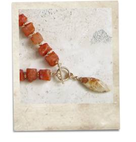 Carnelian and fossil coral necklace - click for details