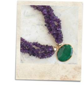 Malachite and amethyst necklace - click for details