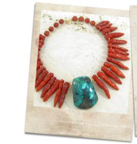 Turquoise and coral necklace - click for details