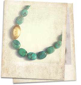 Turquoise and 22kt gold vermeil necklace - click for details