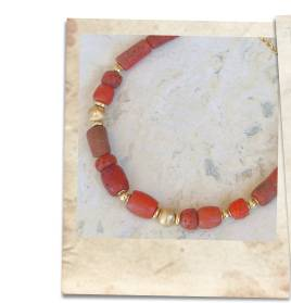 Old glass imitation coral bead necklace - click for details