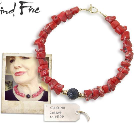 Coral and jet necklace. Click to view details.