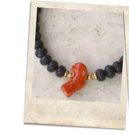Coral and lava stone choker necklace - click for details