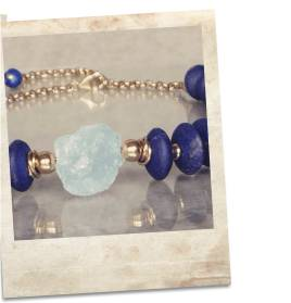 Lapis lazuli and blue topaz choker necklace - click for details