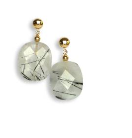 Tourmalinated quartz and 14kt rolled gold earrings - click for details