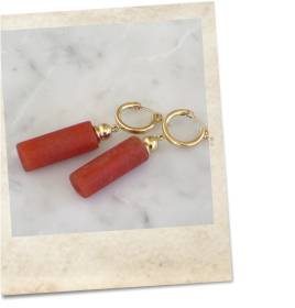 Old glass imitation coral bead earrings - click for details