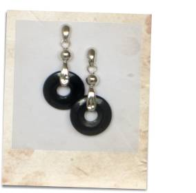 Black onyx and sterling silver earrings - click for details