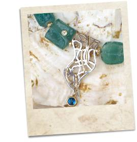 Ancient Roman glass, topaz, sterling silver & gold necklace - click for details