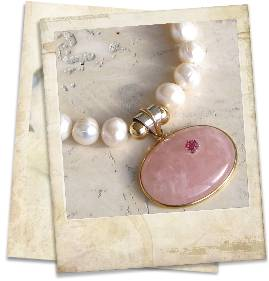Rose quartz, pink tourmaline and pearl necklace - click for details