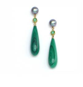 Pearl, emerald and malachite earrings - click for details