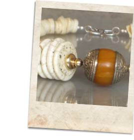 Tibetan amber resin bead and magnesite necklace - click for details