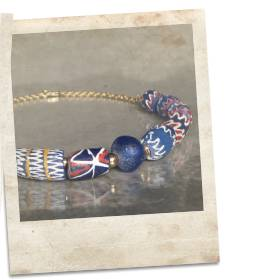 African recycled powder glass bead necklace - click for details