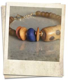 African bone and recycled glass bead necklace - click for details